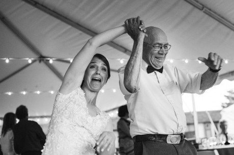 A fun moment with the bride dancing with her grandfather
