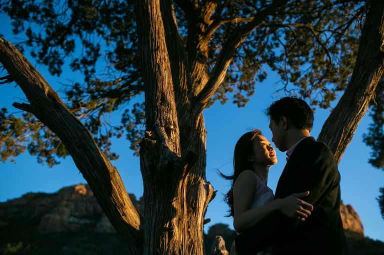Engagement session in Sedona during sunset