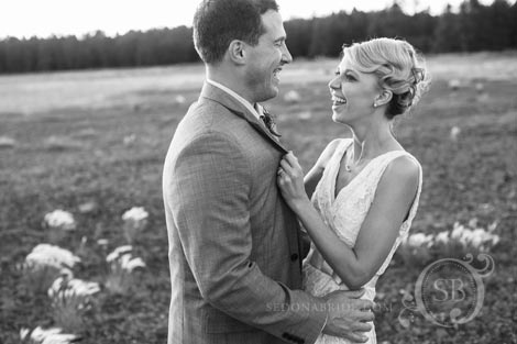 Happy Wedding couple married at Foxoboro Ranch near Flagstaff Arizona weddings