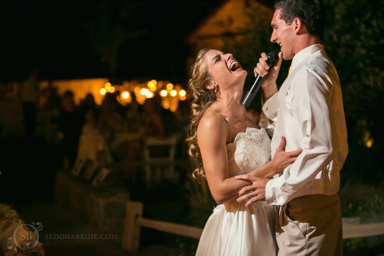 A groom sings to his bride
