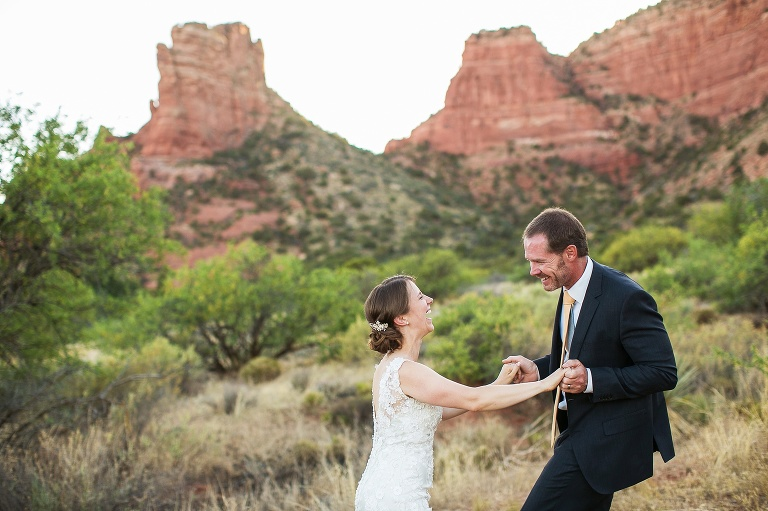 A bride and groom at their Sedona wedding at Red Agave Resort